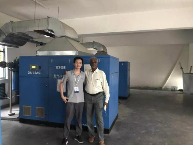 印度節能空氣壓縮機客戶來我司參觀考查